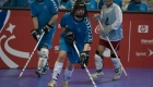 Sandra Le Petit of Germany moves the puck down the floor while competing against Chinese Taipei in the team floor hockey event at Expo Idaho in Boise, Id., Tuesday, Feb. 10, during the 2009 Special Olympics Winter World Games. (Photo by John W. Adkisson)