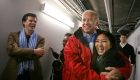 Vice President Joe Biden hugs Olympic figure skater Michelle Kwan as Tim Shriver, board chariman of the Special Olympics, looks on at Qwest Arena on Thursday afternoon during the 2009 Special Olympics World Winter Games in Boise, Idaho. Biden arrived to Boise just before 2 p.m. for the pairs figure skating competition. From there, he will host a reception for some of the athletes, their families and volunteers. (Photo by Courtney Potter)